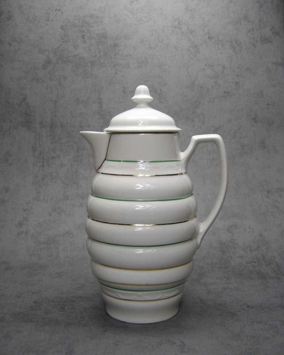 994 - melkkan met versieringen wit met groene en gouden lijnen