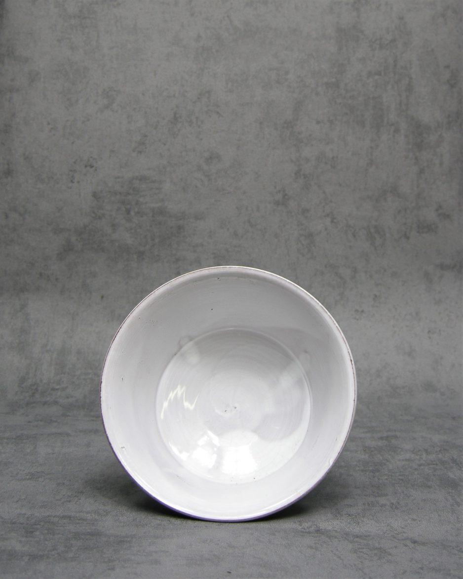1022 - bloempot H.v.D. 309-2 op stokjes gebakken wit