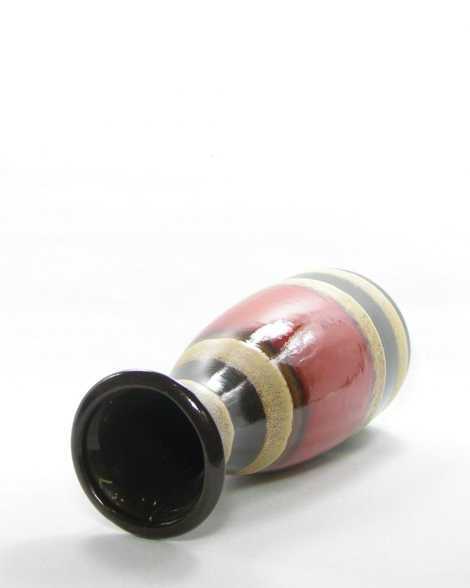 1072 - Vintage vaas Scheurich 293-30 bruin - beige - rood