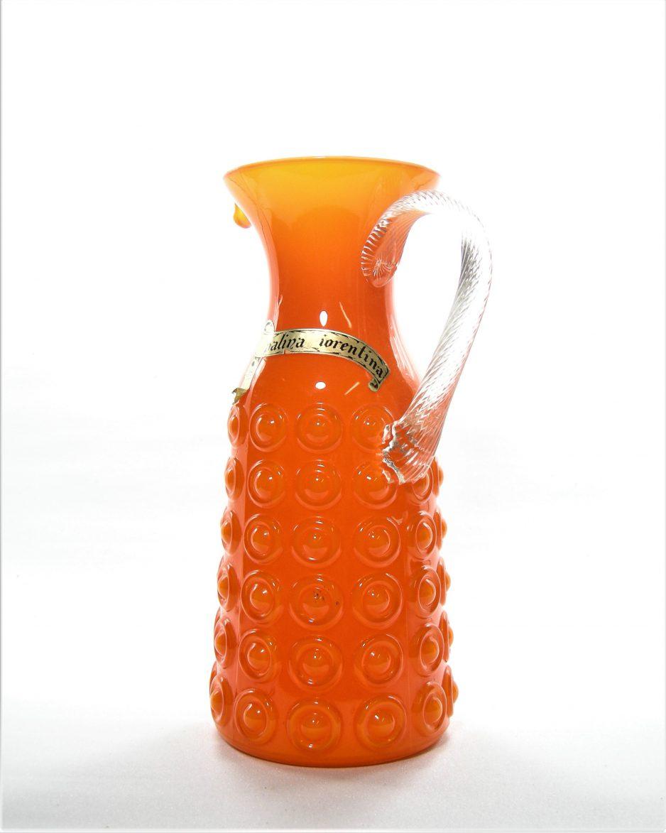 1073 - glazen vaas Palina Fiorentina, handgeblazen vaas-pitcher jaren 60/70 uit Italie oranje