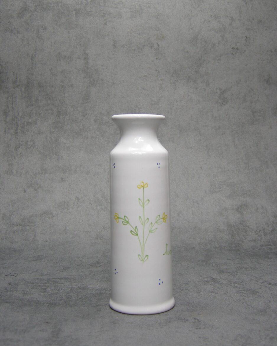 1079 - vaasje S. Gimignano Italy 2348 wit met bloementjes