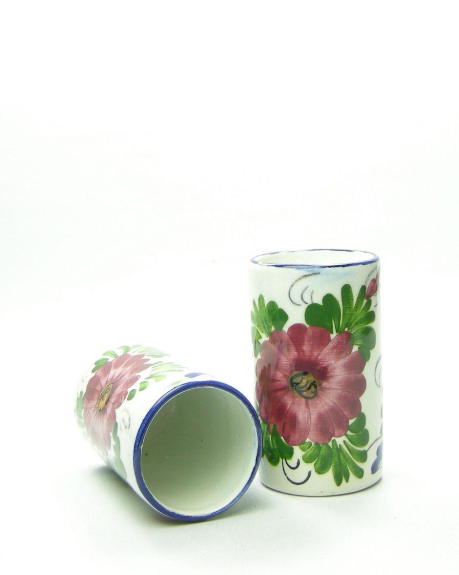 1080 - vaasje - bloempotje hand geschilderd met bloemen wit - blauw - groen - roze