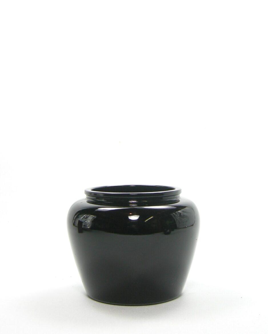 1091 - vaasje AVON glas jaren 70 zwart