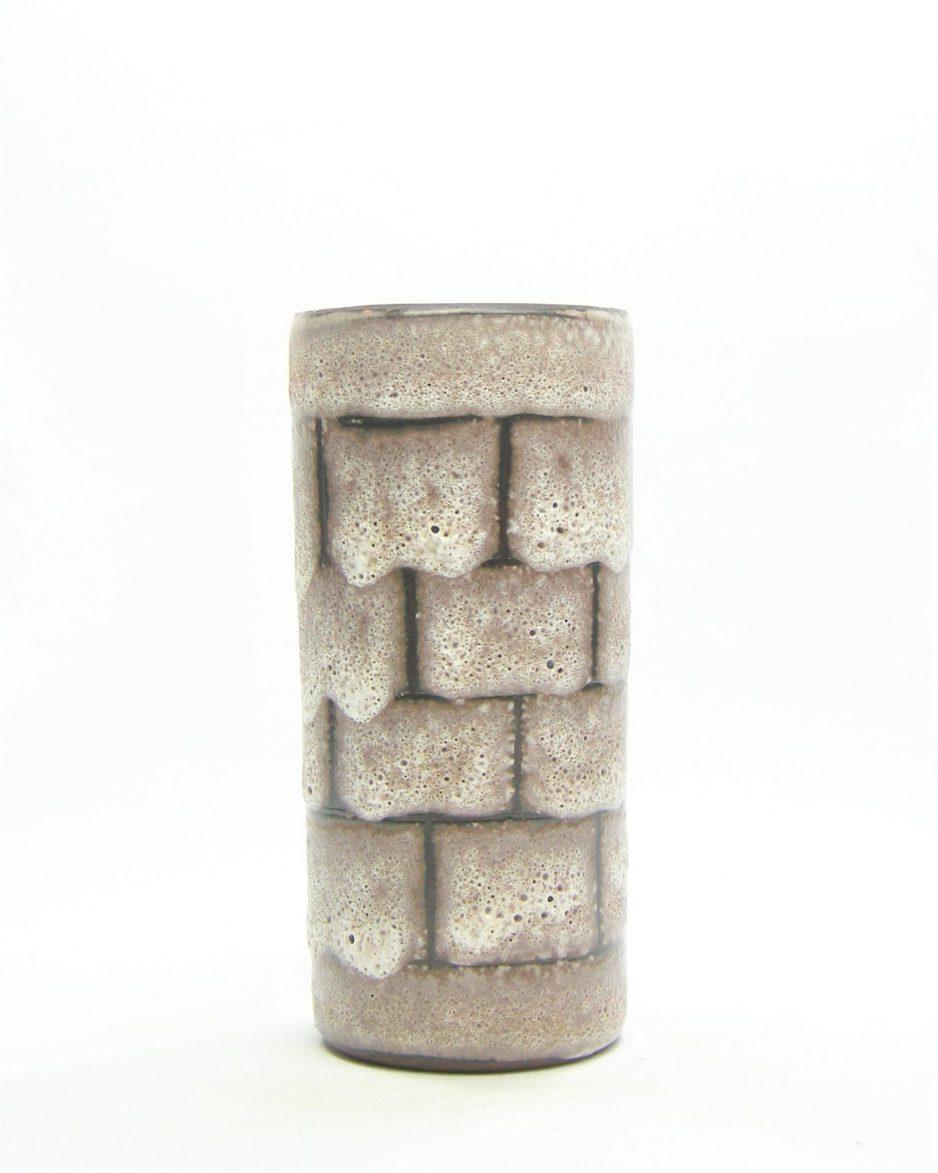 1102 - vaas - bloempot met blokken motief bruin - wit