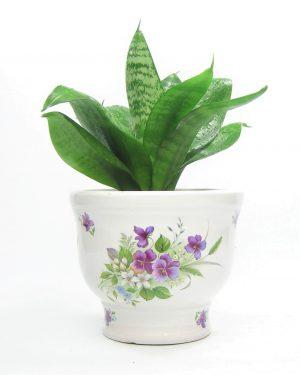 1110 - bloempot 322-14 met bloemen wit - paars - groen