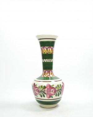1123 - vaasje Wechsler Tirolkeramik hand geschilderd wit - groen - roze - bruin - geel