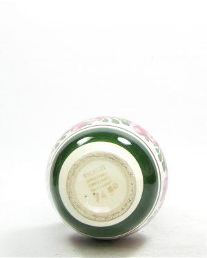 1123 – vaasje Wechsler Tirolkeramik hand geschilderd wit – groen – roze – bruin – geel