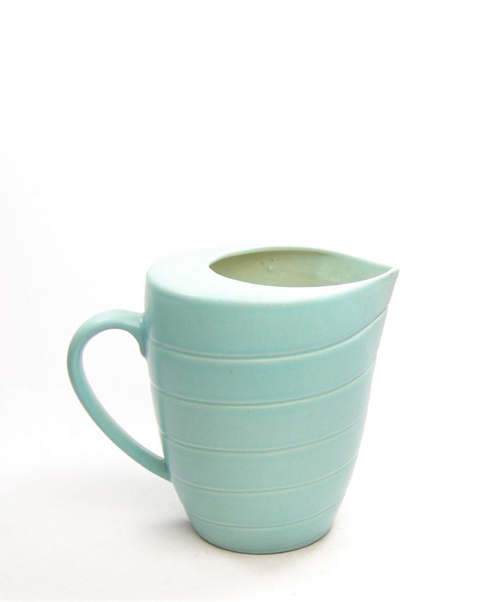 1124 - pitcher met horizontale lijnen aqua - groen