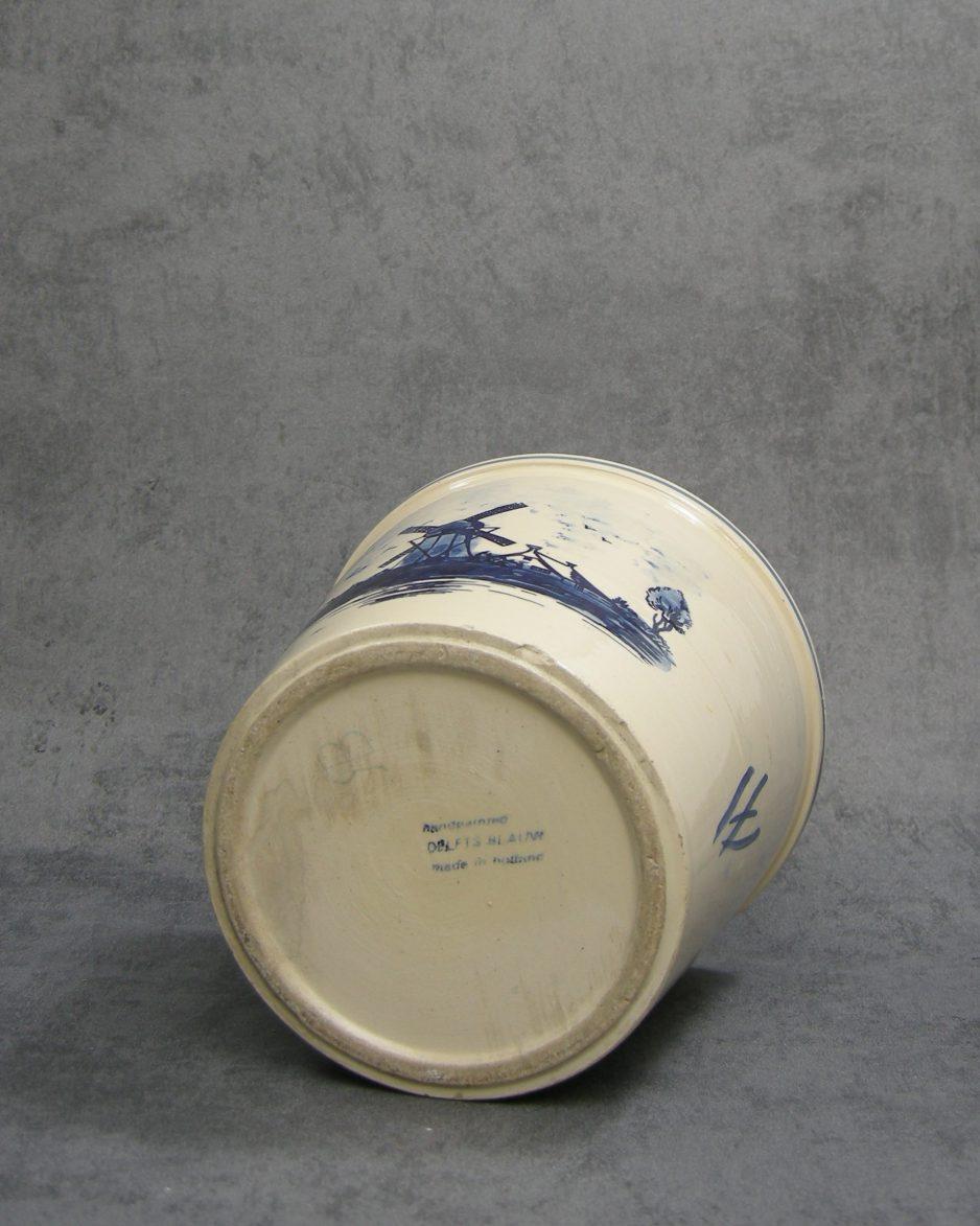 1145 - bloempot Delfts blauw Holland blauw - crème