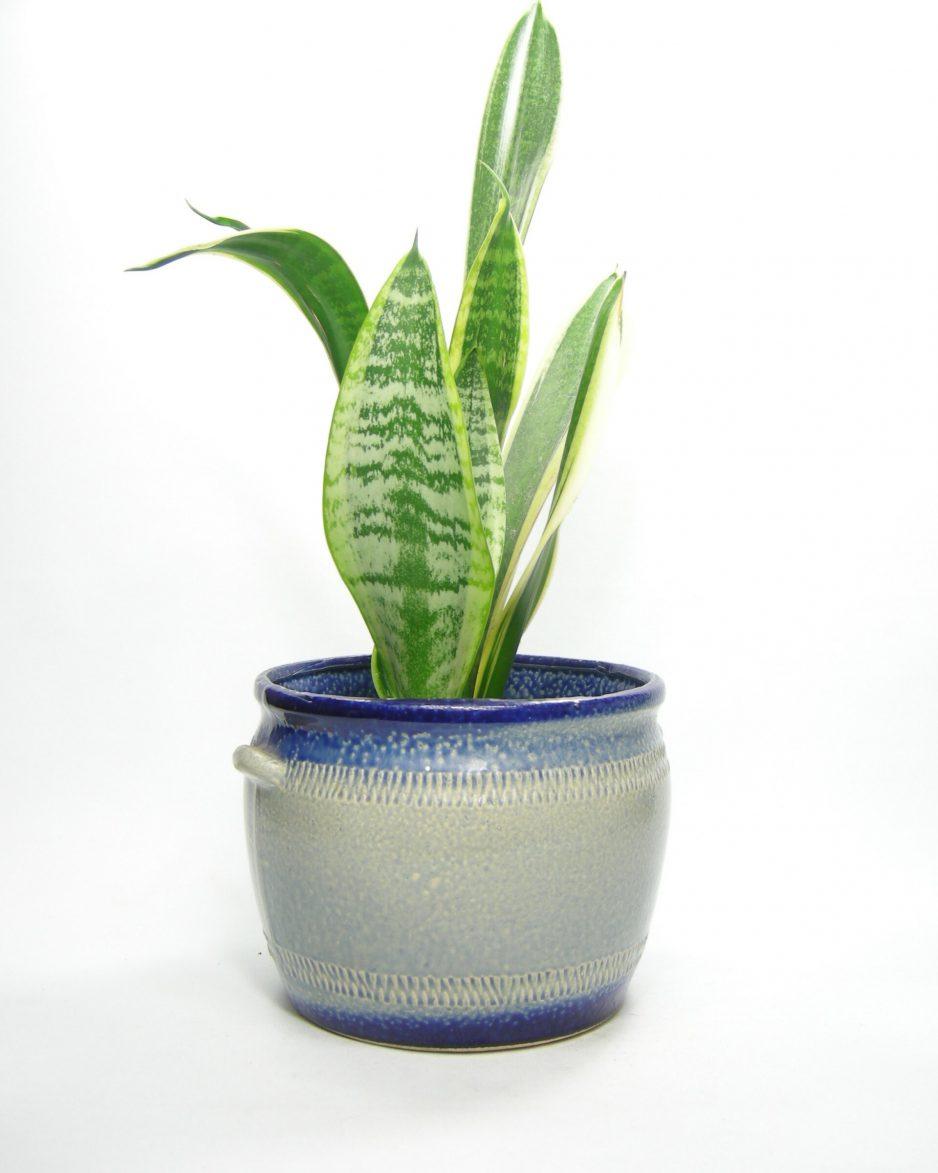 1153 - bloempot Vetter 92-19 blauw - grijs