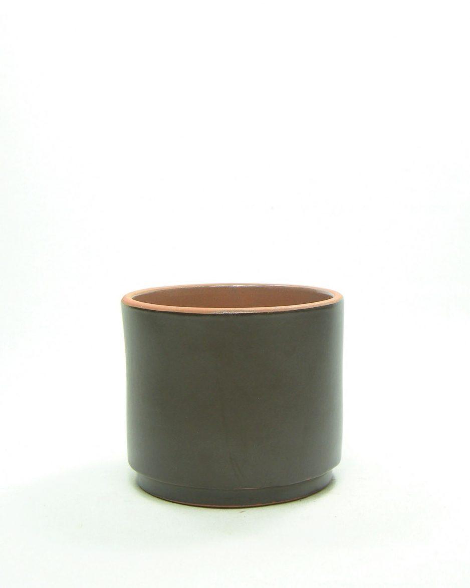 1156 - bloempot cilinder bruin