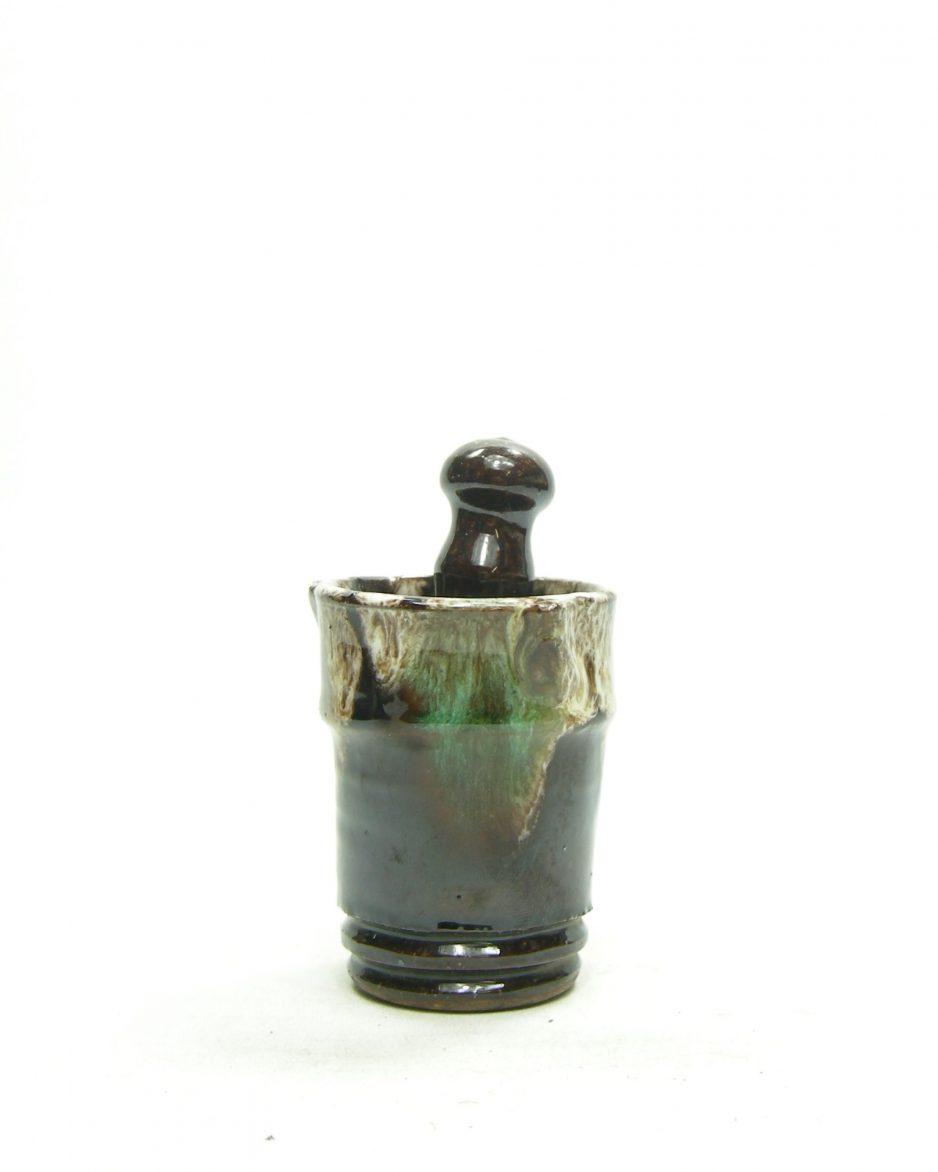 1160 - bloemenvaasje Fat Lava groen - bruin