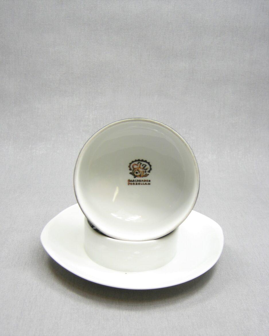 1167 - botervloot H&C Porzellen Czechoslovakia zwart - wit