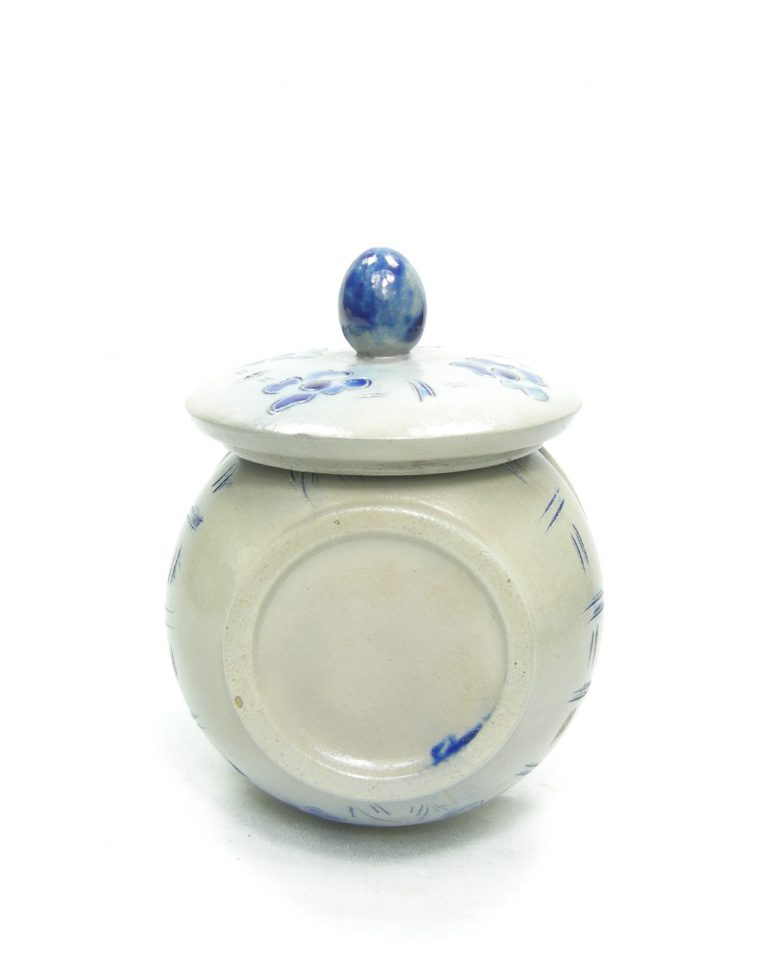 1171 – suikerpotje Keuls aardewerk grijs – blauw