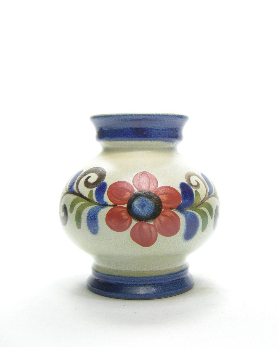 1176 - vaas 1551-15 met bloemen grijs - blauw - roze - groen