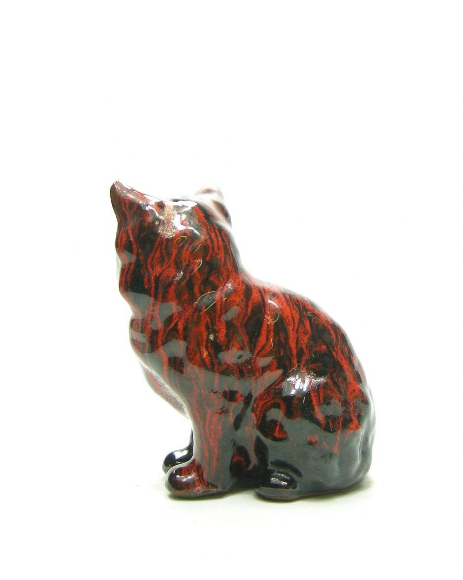 1179 - beeldje poes rood - zwart