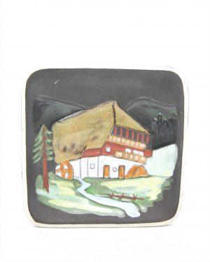 1190 - wandbordje Kermos Keramik zwart met afbeelding