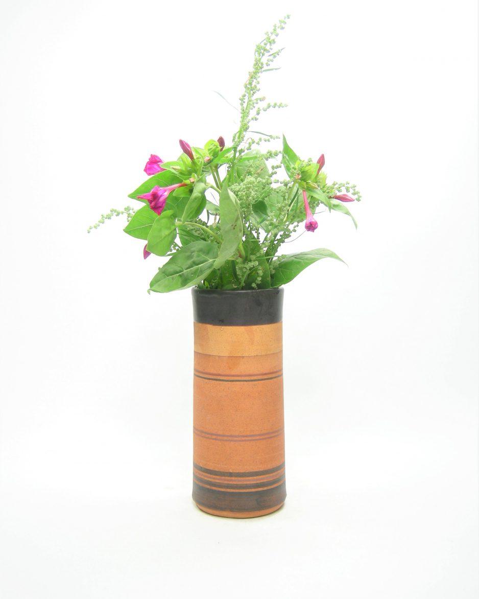 1202 - vaas Gres Pottery gestreept bruin