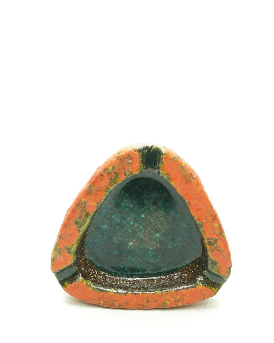 1204 - asbak driehoek oranje - groen - bruin