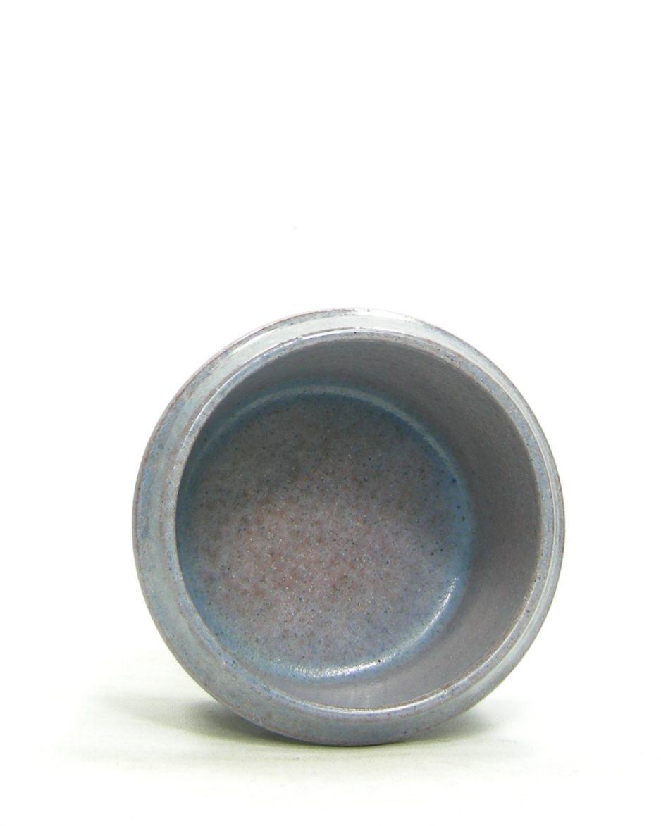 1206 - bloempot op stokjes gebakken blauw - paars