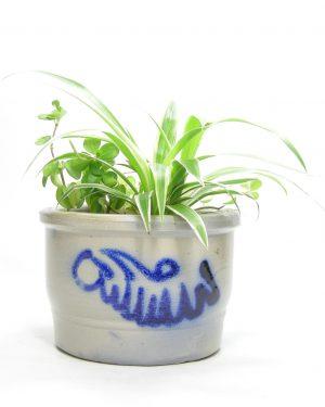 1207 - bloempot Keuls aardewerk grijs - blauw