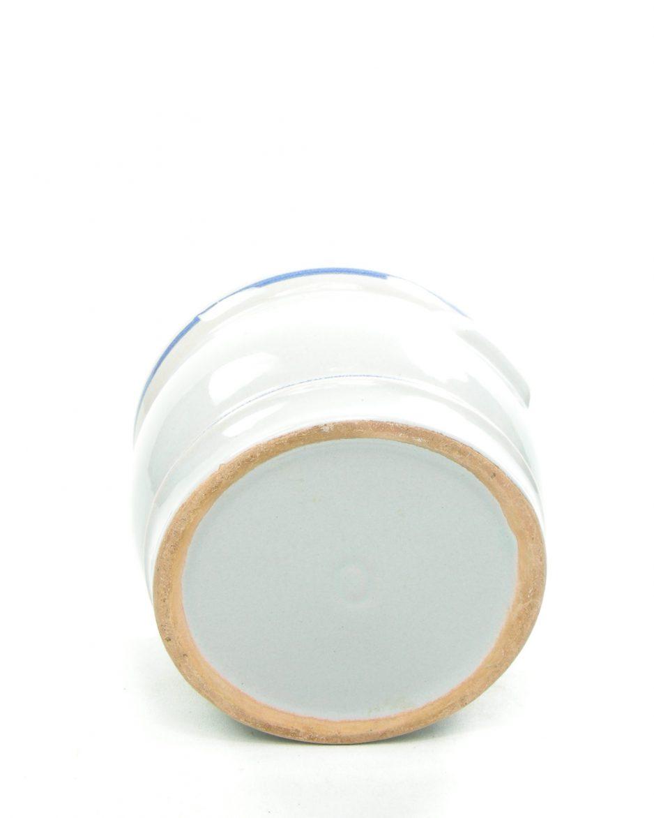 1208 - bloempot '0' grijs - blauw - rood