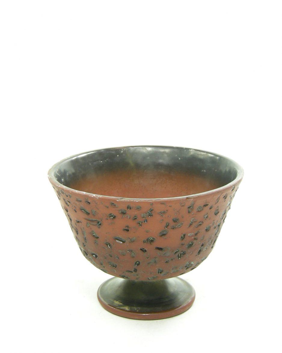 1209 - bloempot berkenbast op voet bruin - zwart