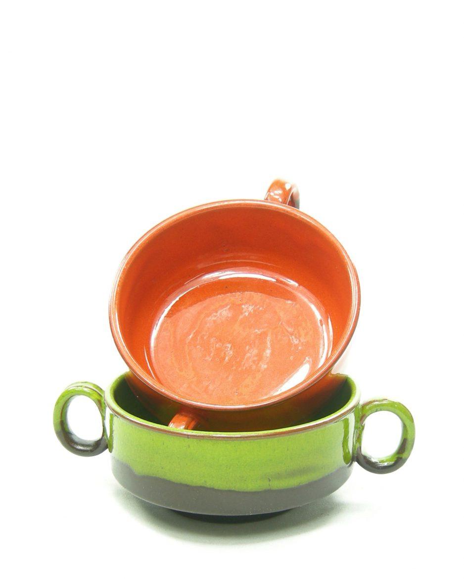 1214 - soepkommen met oren oranje - bruin en groen - bruin