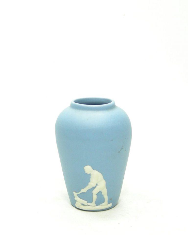 1220 – vaasje Ecanada Art Pottery Canada  blauw – wit