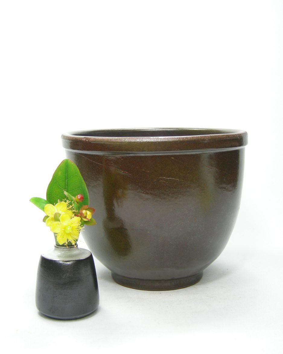 1221 - bloempot met verloop kleuren bruin - groen