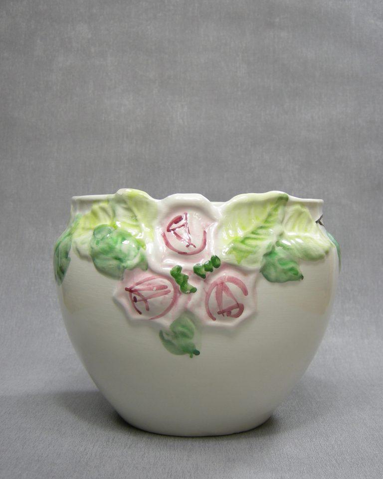 bloempot met rozen wit – roze – groen