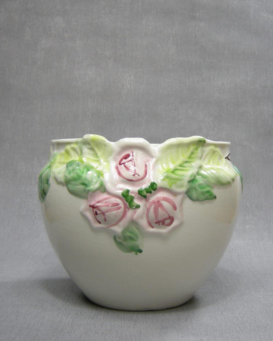 bloempot met rozen wit - roze - groen