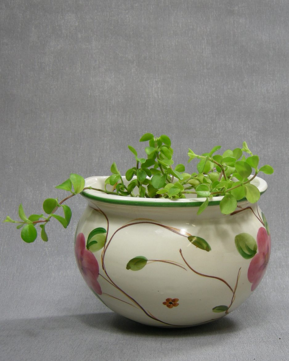 1227 -bloempot 826/13 W Alcobaca Portugal crème - groen - roze