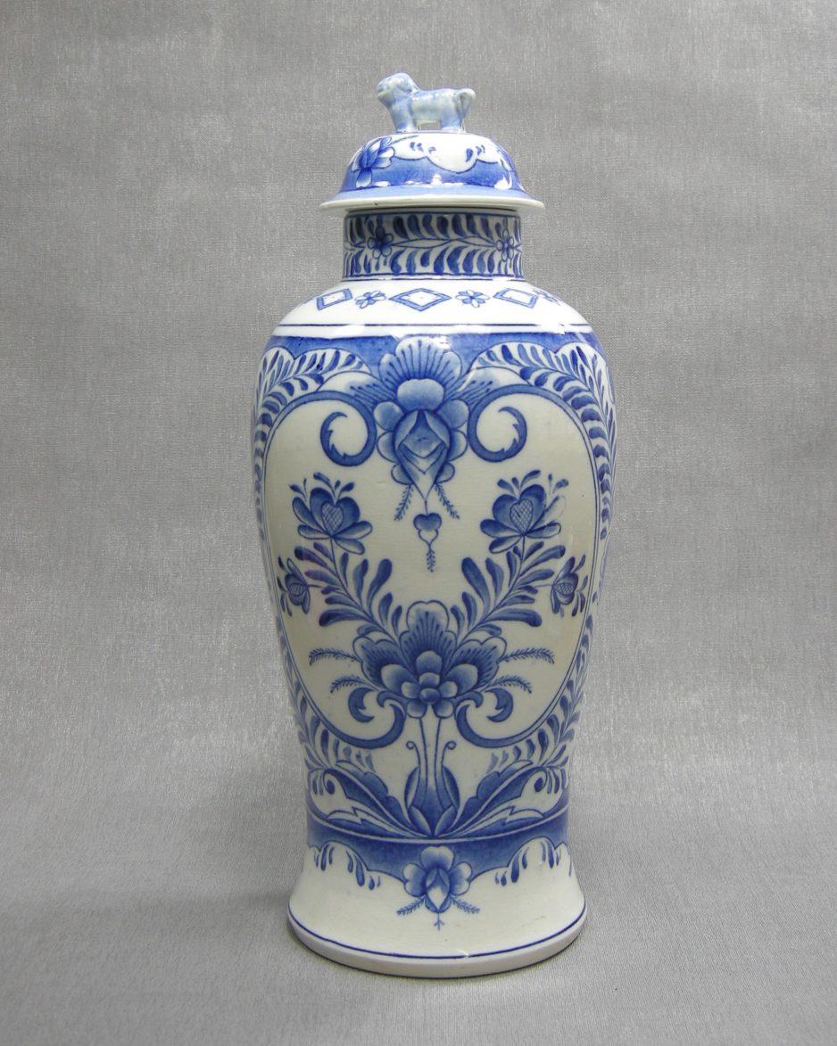 1232 - pot met deksel Delfts motief wit - blauw