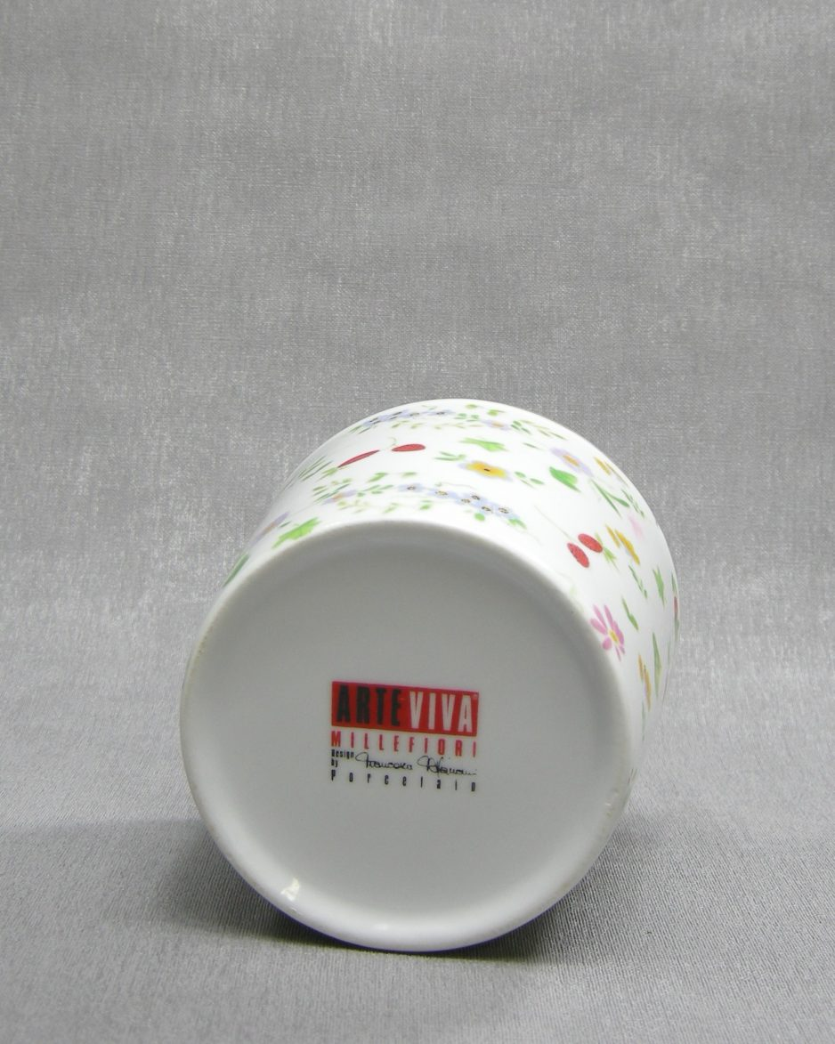 1233 - bloempot Arte Viva Porcelain wit met bloemen