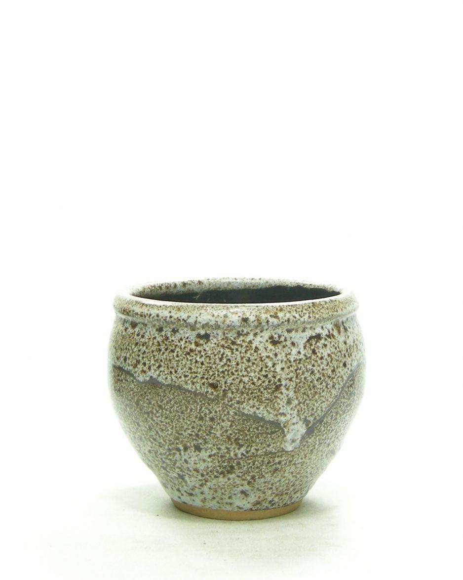 1249 - bloempotje met steenmotief bruin