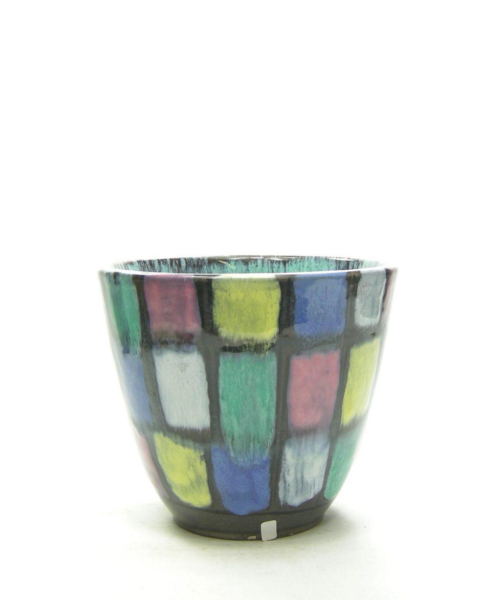 1256 - bloempot met gekleurde vlakken groen-geel-roze-blauw-zwart