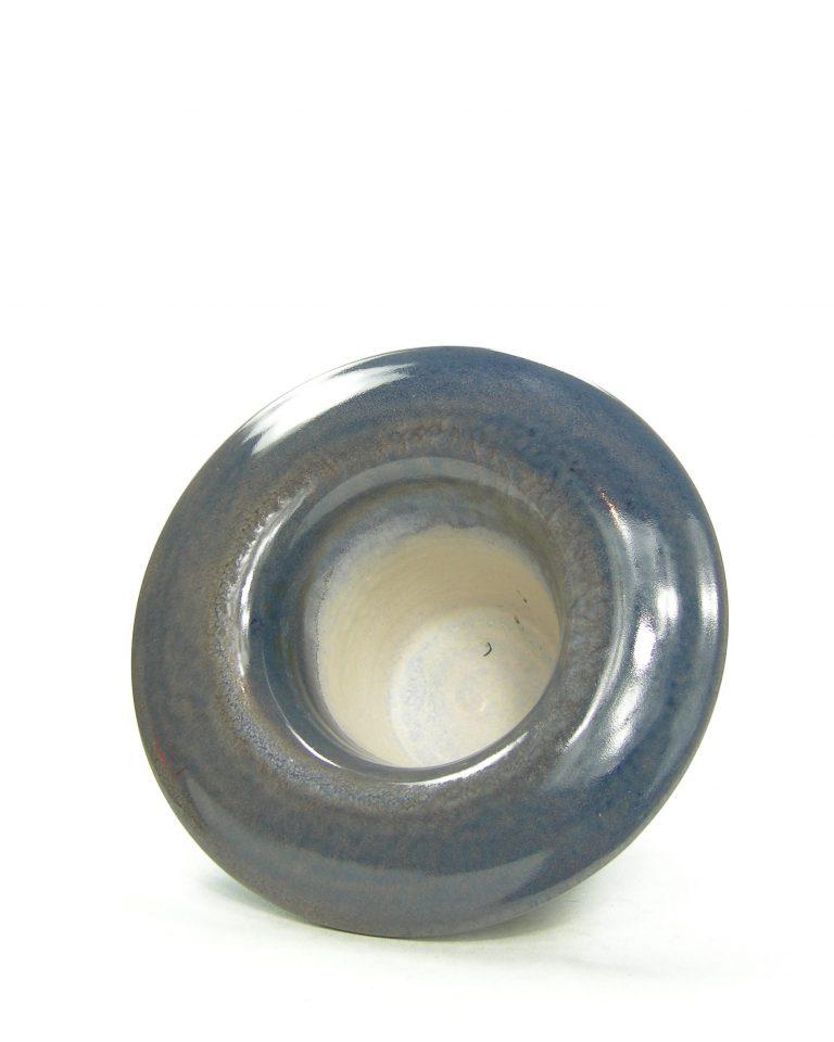 1266 – bloempot met brede rand blauw-bruin