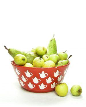 1267 - fruitschaal WAECHTERSBACH rood met witte theepotten