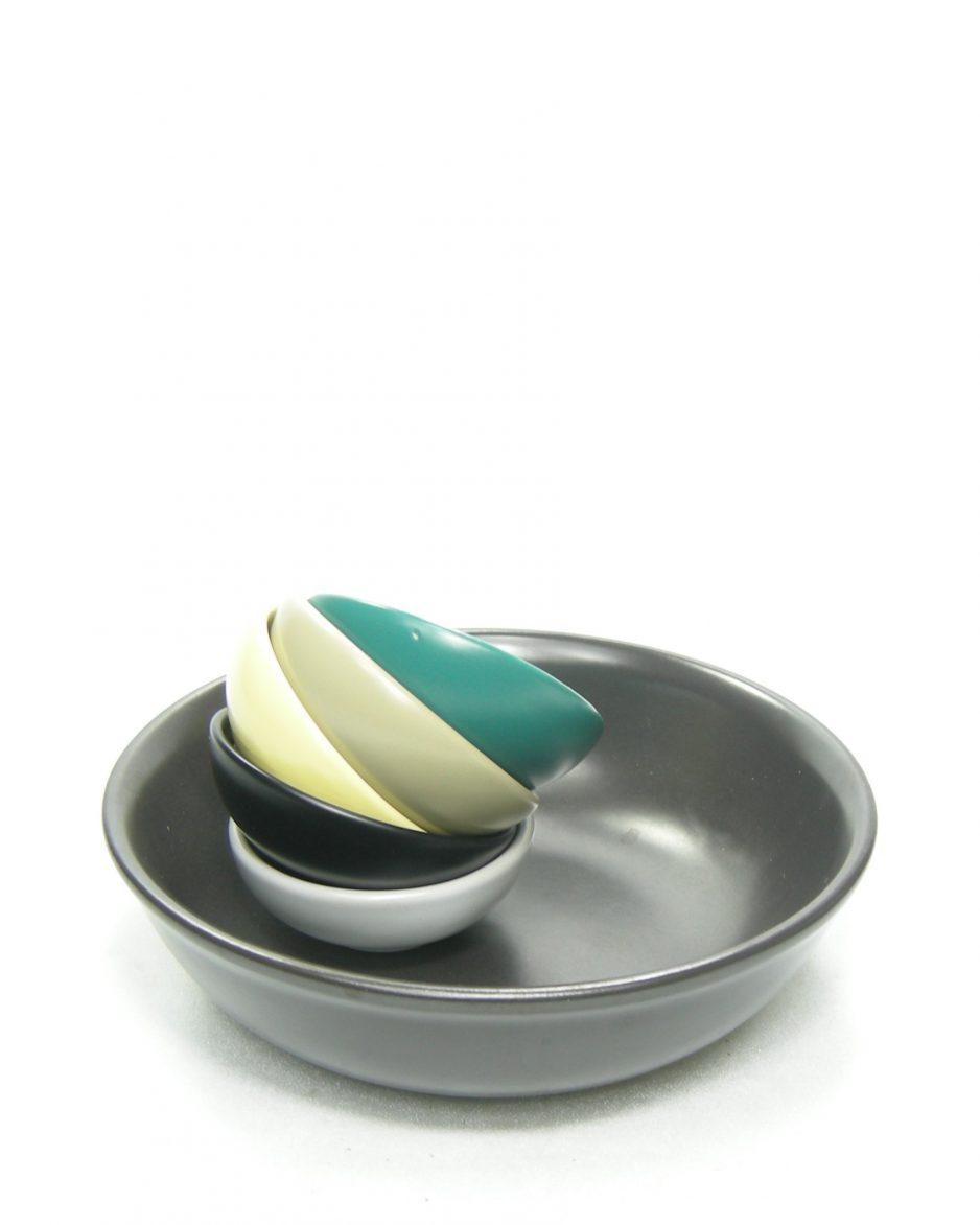 1271 - pinda set C.V.B. 195710341 zwart - geel - groen - grijs - beige