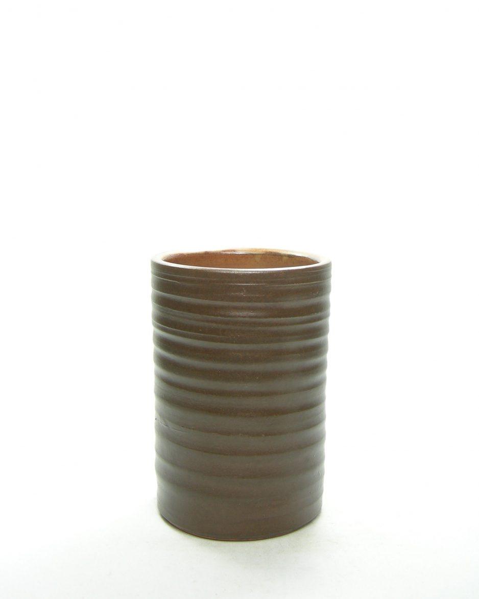 1272 - bloempot met horizontale groeven bruin