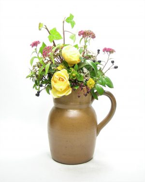 1277 - pitcher Gres Fait Main made in France bruin