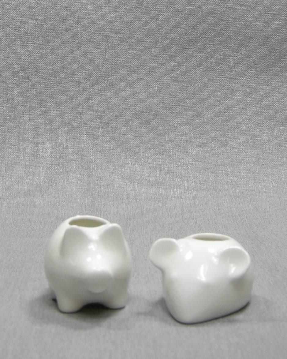 1282 - kandelaartjes muis en varken wit