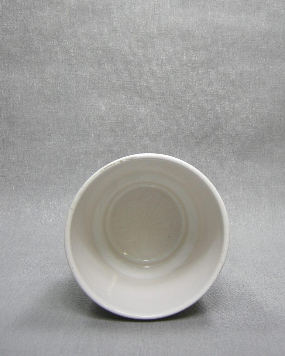 1289 - bloempot met ribbels wit