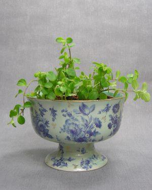 1293 - bloempot - kastkom H. Bequet Quaregnon groen - blauw - goud