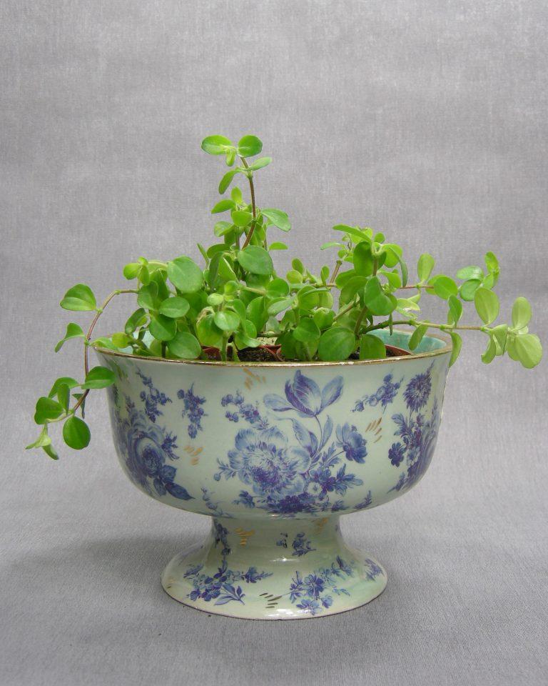 1293 – bloempot – kastkom H. Bequet Quaregnon groen – blauw – goud