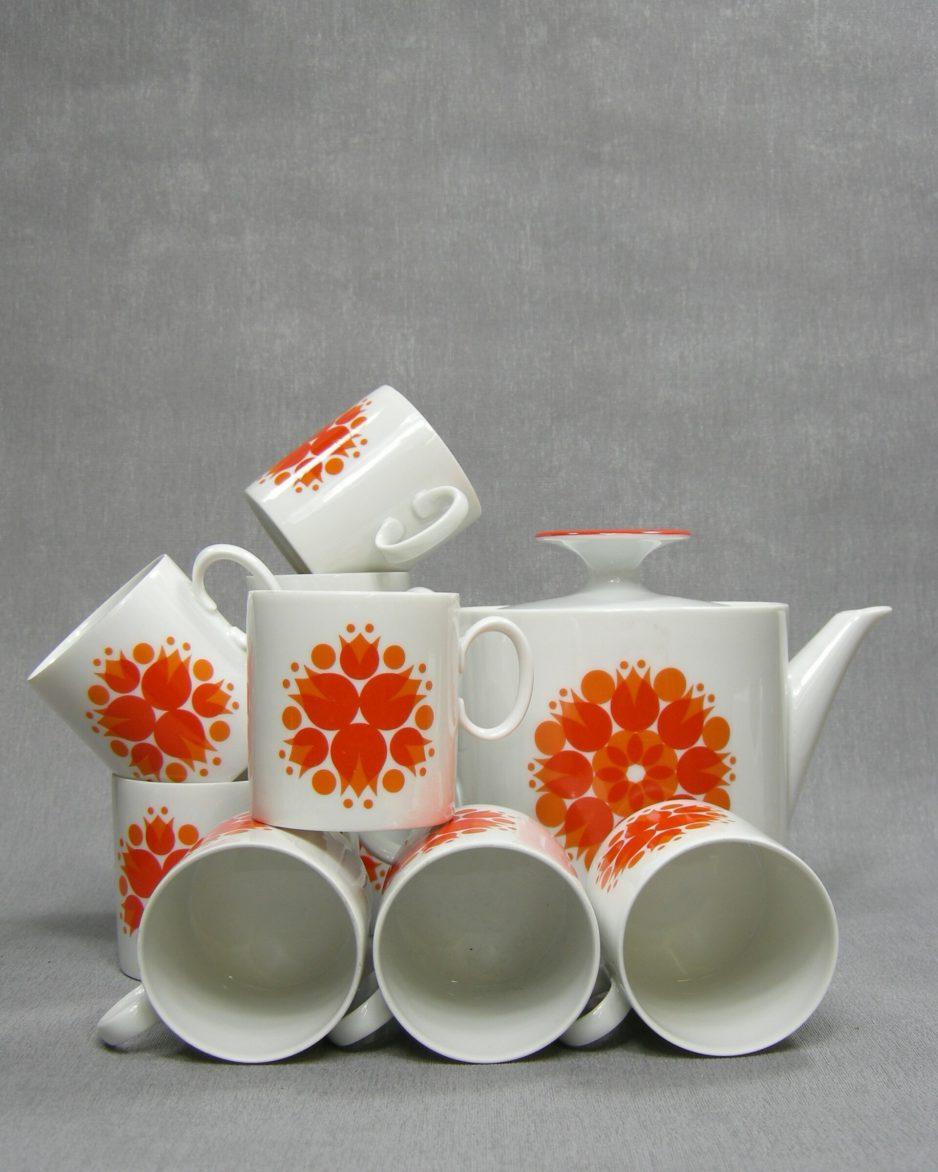 288 - koffie,- theeservies Thomas Germany wit - oranje