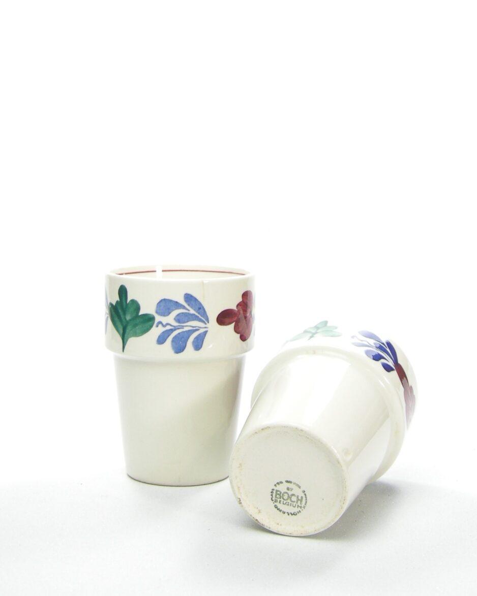 987 - Melkbeker Boch Belgium boerenbont wit
