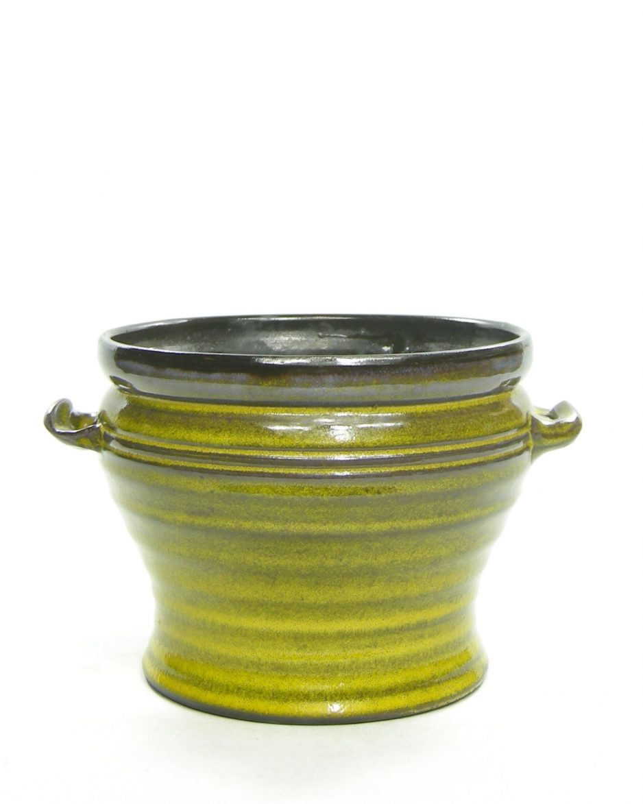 1298 - bloempot met oortjes geel - bruin