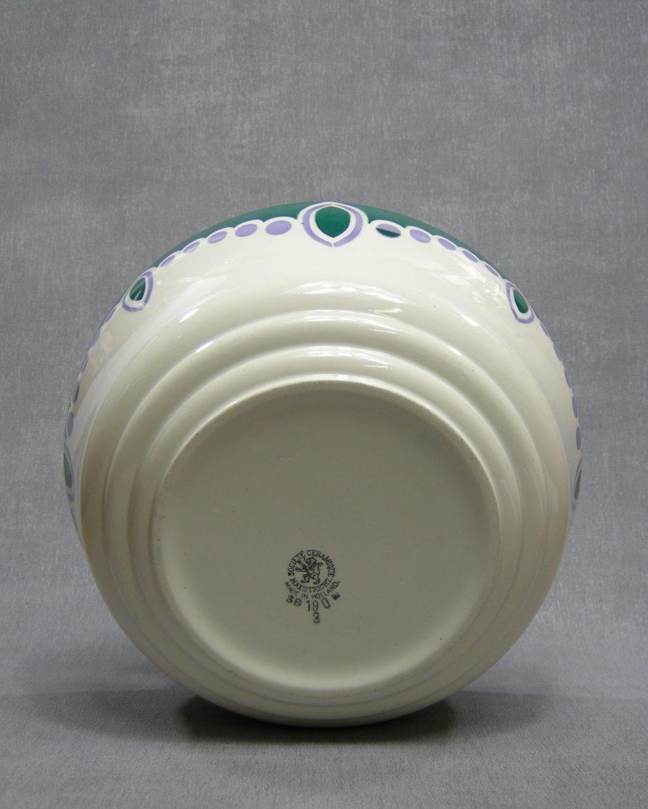 1328 - schaal Societe Ceramique Maestricht SB 190 3 Art Deco jaren 30 wit - groen - lila